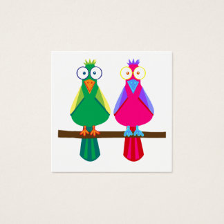 Two parrots square business card