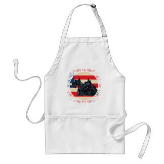 Two Patriotic Scottish Terriers Aprons
