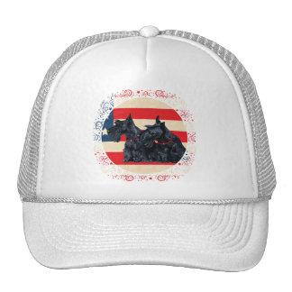 Two Patriotic Scottish Terriers Trucker Hats