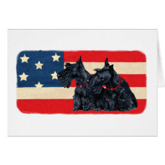 Two Patriotic Scottish Terriers Cards