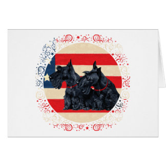 Two Patriotic Scottish Terriers Greeting Cards