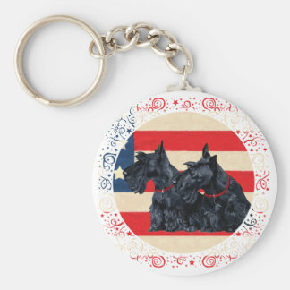 Two Patriotic Scottish Terriers Key Chain