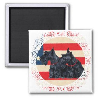 Two Patriotic Scottish Terriers Fridge Magnet