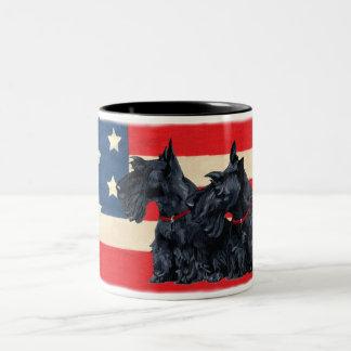 Two Patriotic Scottish Terriers Coffee Mug