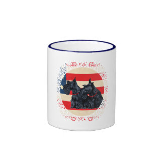 Two Patriotic Scottish Terriers Coffee Mugs