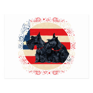 Two Patriotic Scottish Terriers Post Card