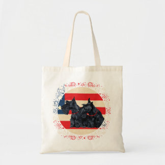Two Patriotic Scottish Terriers Budget Tote Bag