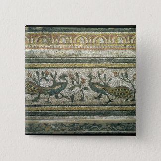 Two peacocks, decorative border detail from a mosa 15 cm square badge
