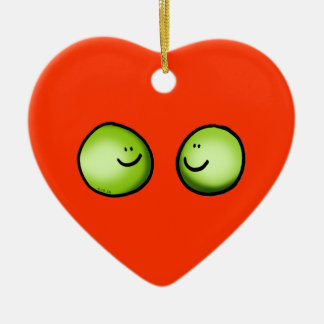 Two peas ceramic heart decoration