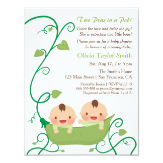Two Peas in a Pod Baby Shower Invitations