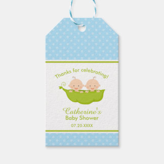 Two Peas in  a Pod, Blue Twins Gift Tags