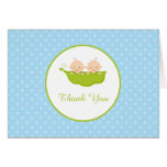 Two Peas in a Pod, Boy Twins Thank You Note Card