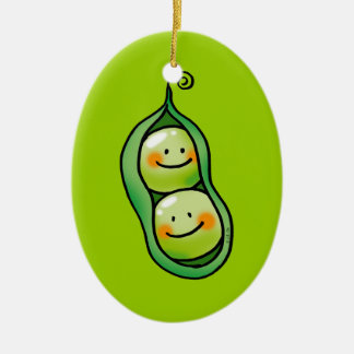 Two peas in a pod ceramic oval decoration