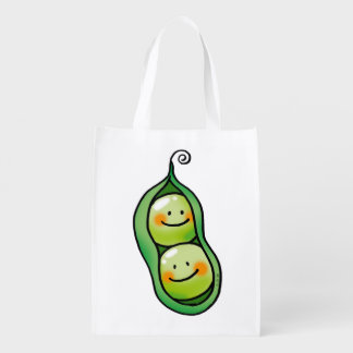Two peas in a pod reusable grocery bag