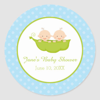 Two Peas in a Pod, Twin Boys Personalized Classic Round Sticker