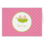 Two Peas in a Pod, Twin Girls Thank You Note Note Card