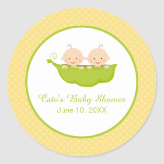 Two Peas in a Pod, Twins Baby Shower Personalized Classic Round Sticker