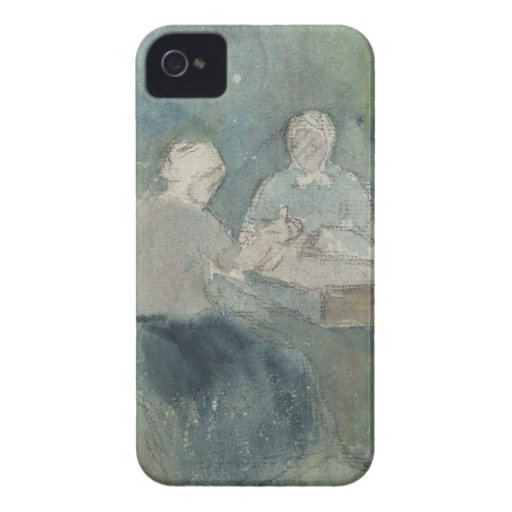 Two Peasants at the Table, c.1874 (w/c on paper) Case-Mate iPhone 4 Case