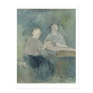 Two Peasants at the Table, c.1874 (w/c on paper) Postcard