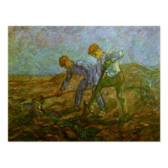 Two Peasants Digging, Van Gogh Fine Art Postcard
