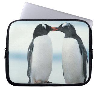 Two Penguins touching beaks Laptop Sleeve