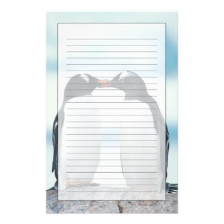 Two Penguins touching beaks Stationery