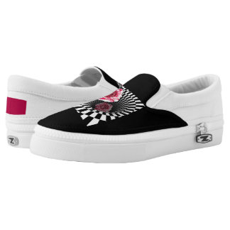 Two peppermint roses in tunnel design Slip-On shoes