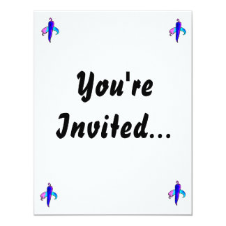 Two peppers blue purple 11 cm x 14 cm invitation card
