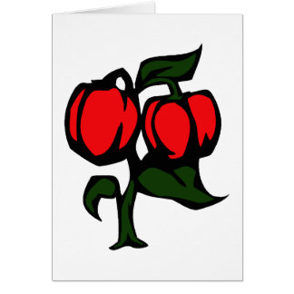 Two Peppers on a plant red green graphic Note Card