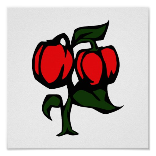 Two Peppers on a plant red green graphic Posters