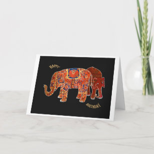 Two Persian ElephantsHappy Birthday Card