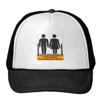 Two Persons by Step Sign, Brazil Mesh Hat