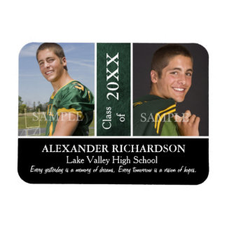 Two Photo Green Leather Graduation Magnet