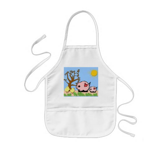 Two pigs and the  little chicks Apron