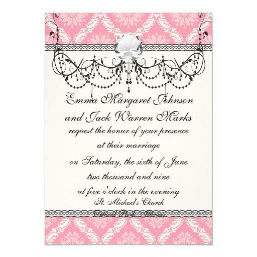 two pink and cream elegant damask 11 cm x 16 cm invitation card