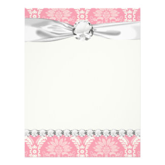 two pink and cream elegant damask 21.5 cm x 28 cm flyer