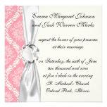 two pink and cream elegant damask custom invite