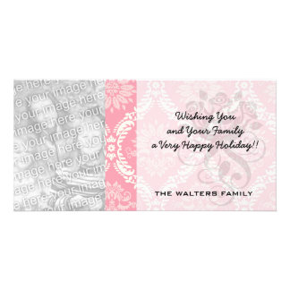 two pink and cream elegant damask photo card