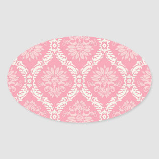two pink and cream elegant damask oval sticker
