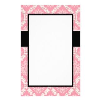 two pink and cream elegant pastel soft damask stationery