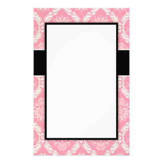 two pink and cream elegant pastel soft damask stationery paper
