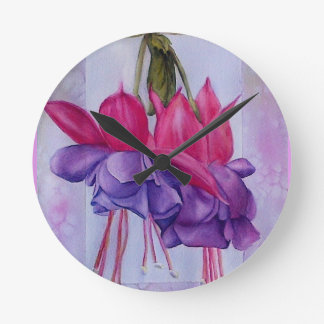 TWO PINK AND PURPLE FUSCHIAS WALL CLOCK