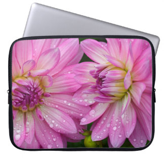 Two pink dahlia flowers laptop sleeve