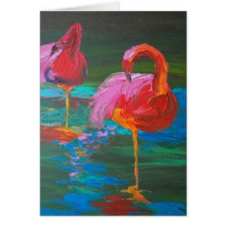 Two Pink Flamingos on Green Lake (K.Turnbull Art) Card
