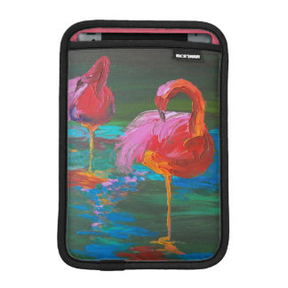 Two Pink Flamingos on Green Lake (K.Turnbull Art) iPad Mini Sleeve