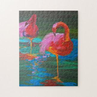 Two Pink Flamingos on Green Lake (K.Turnbull Art) Jigsaw Puzzle