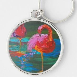 Two Pink Flamingos on Green Lake (K.Turnbull Art) Key Ring