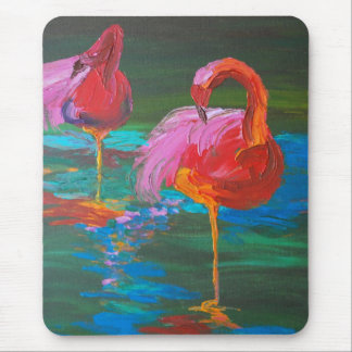 Two Pink Flamingos on Green Lake (K.Turnbull Art) Mouse Mat