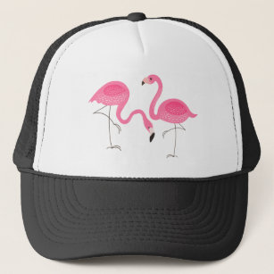 53baa54f27588 Two Pink Flamingos Simple Illustration Trucker Hat