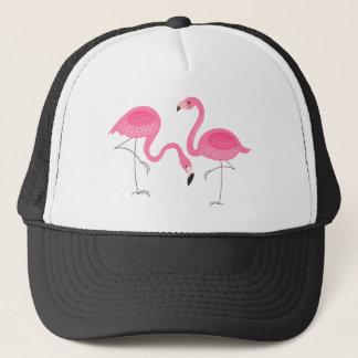 Two Pink Flamingos Simple Illustration Trucker Hat